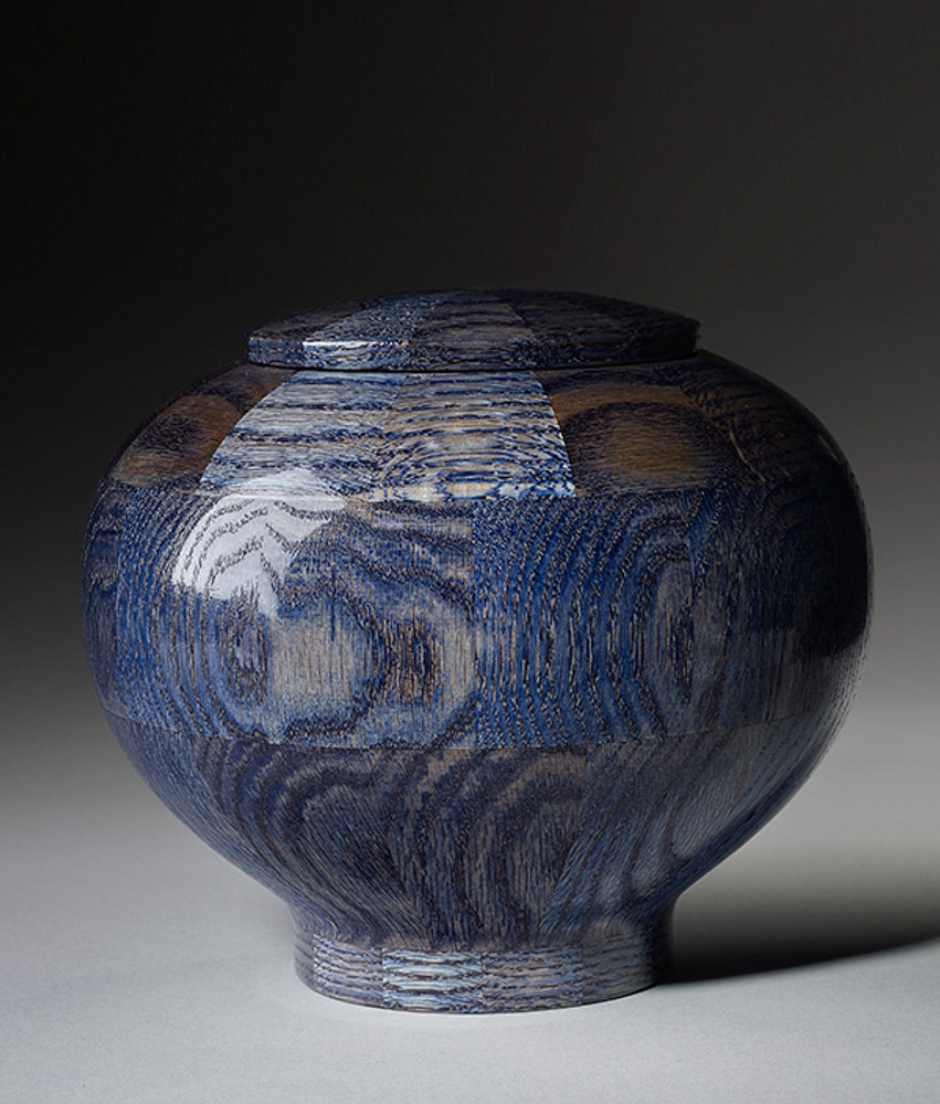 Hand Turned Wood Cremation Urn in Blue - Standard