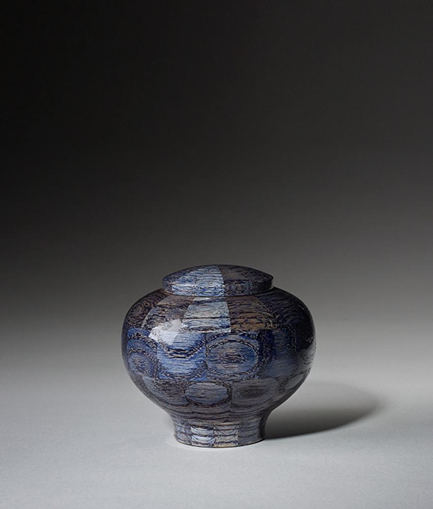 Hand Turned Wood Cremation Urn in Blue - Keepsake