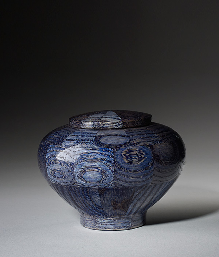 Hand Turned Wood Cremation Urn in Blue - Small
