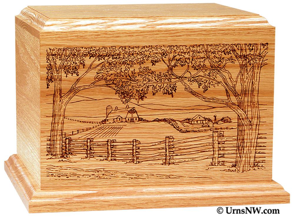 Laser Engraved Wooden Keepsake Urn - Farm Scene