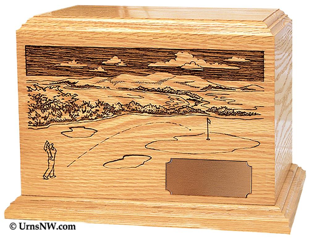 Laser Engraved Wooden Keepsake Urn - Golfer Scene