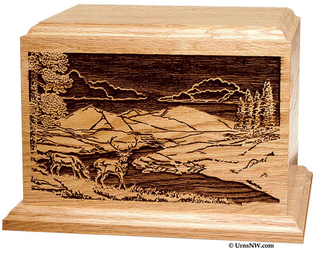 Laser Engraved Wooden Keepsake Urn - Deer Scene