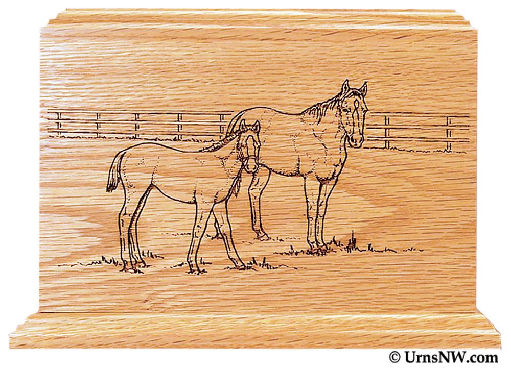 Laser Engraved Wooden Keepsake Urn - Horses Scene