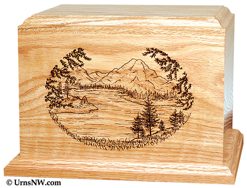 Laser Engraved Wooden Keepsake Urn - Mountain Lake