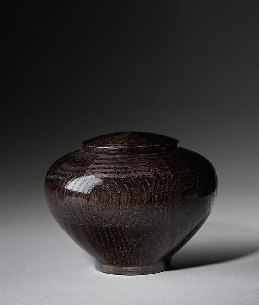 Hand Turned Wood Cremation Urn in Black - Small