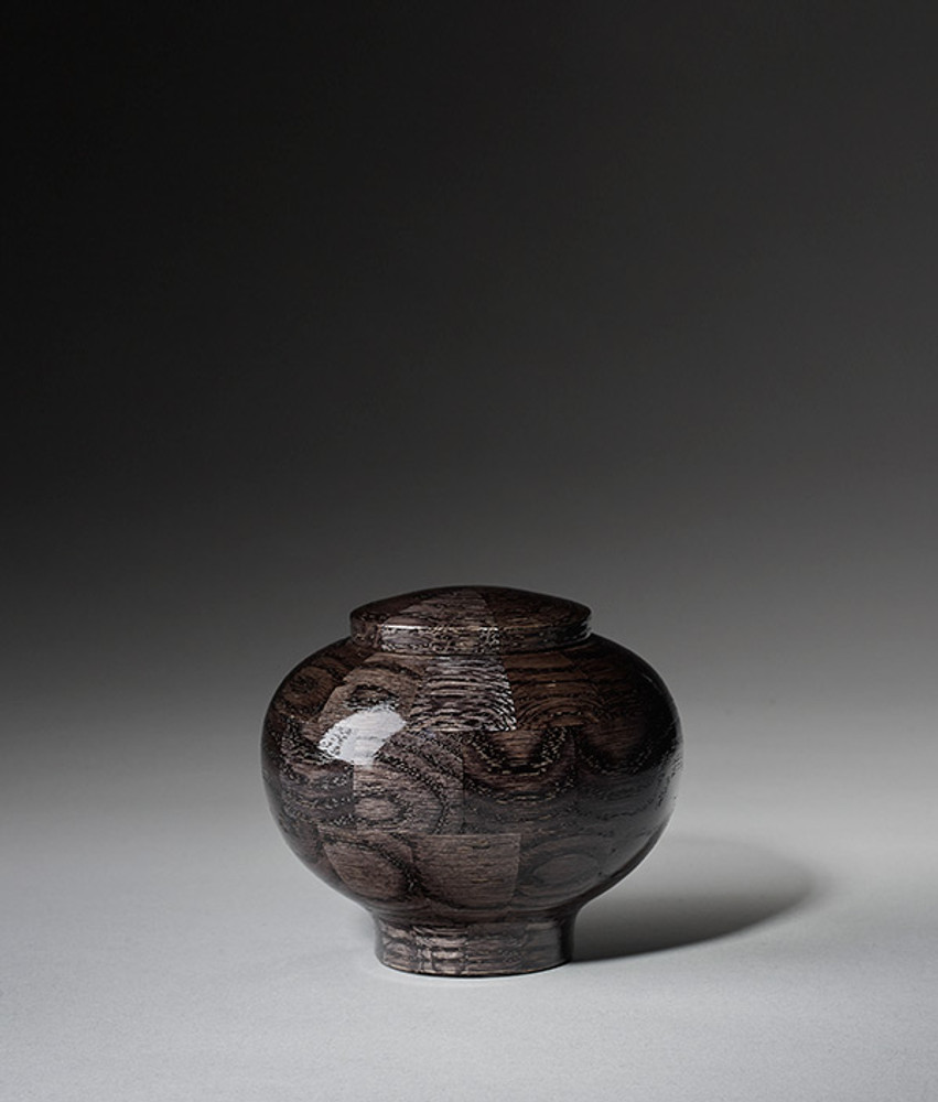 Hand Turned Wood Cremation Urn in Black - Keepsake
