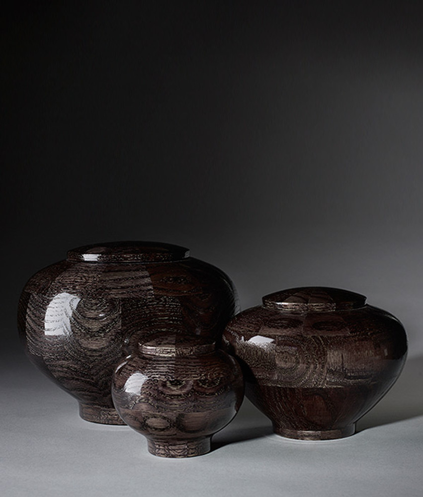 Hand Turned Rounded Black Oak Wood Cremation Urns