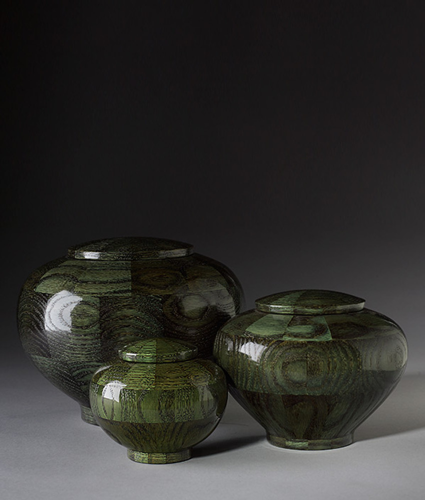 Hand Turned Rounded Green Oak Wood Cremation Urns