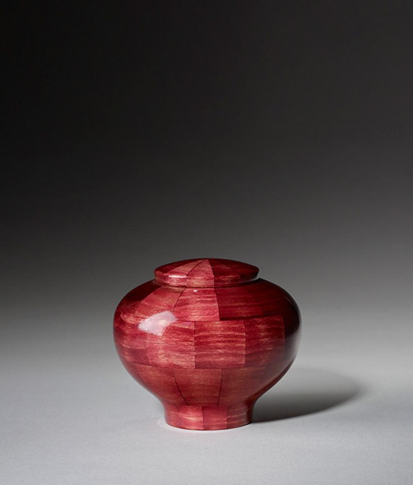 Hand Turned Wood Cremation Urn in Pink - Keepsake