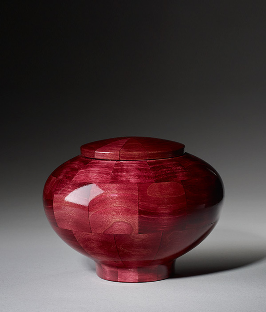 Hand Turned Wood Cremation Urn in Pink - Small