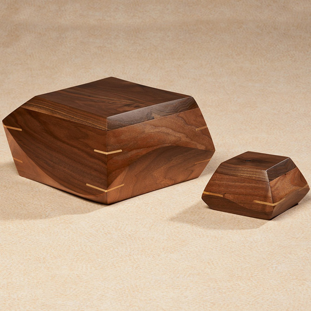 Hand Carved Walnut Wood Cremation Urn