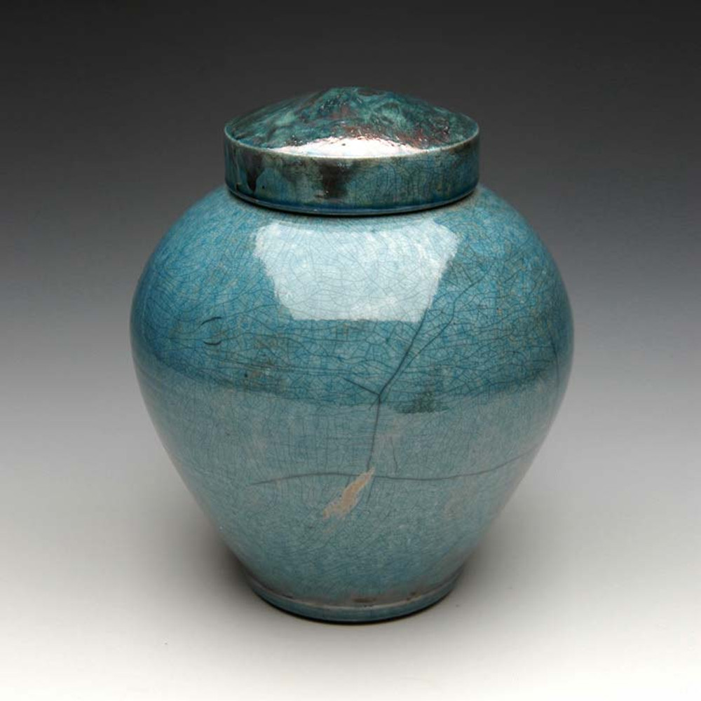 Raku Ceramic Cremation Urn in Celestial Aqua
