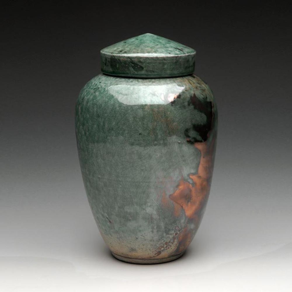 Raku Ceramic Cremation Urn in Imperial Blue