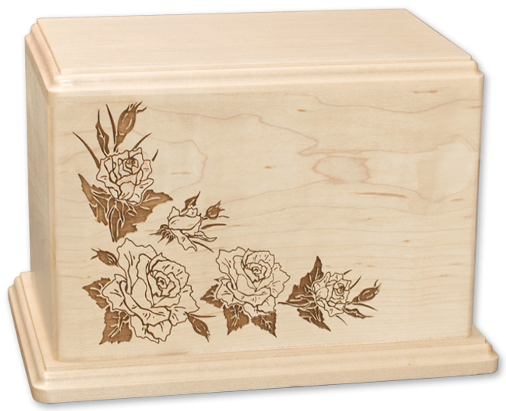 Laser Carved Roses Wood Cremation Urn - Maple