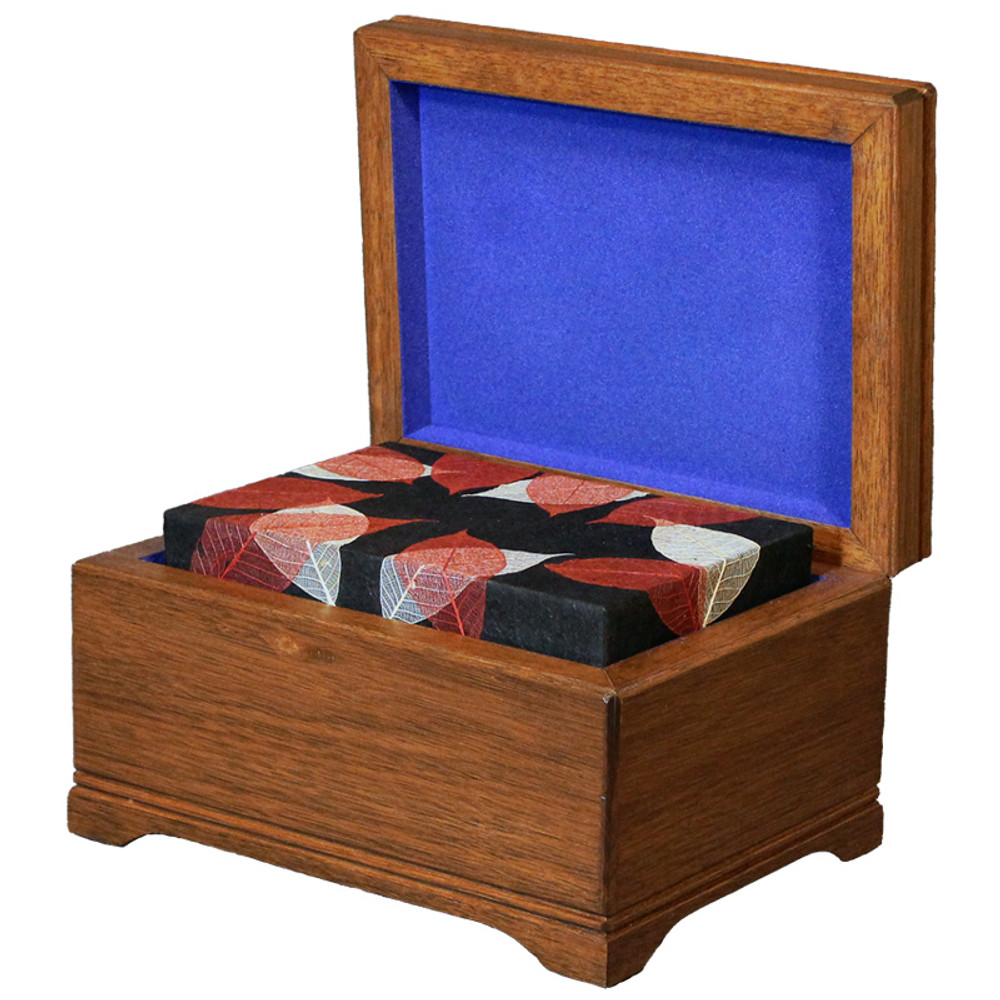 Mahogany Memory Chest with Biodegradable Autumn Leaves Urn