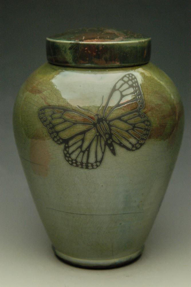 Monarch Butterfly Urn - Lemon Luster finish