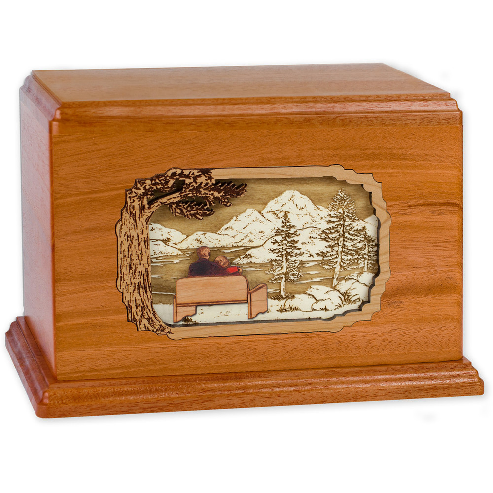 Soulmates Companion Cremation Urn - Mahogany Wood