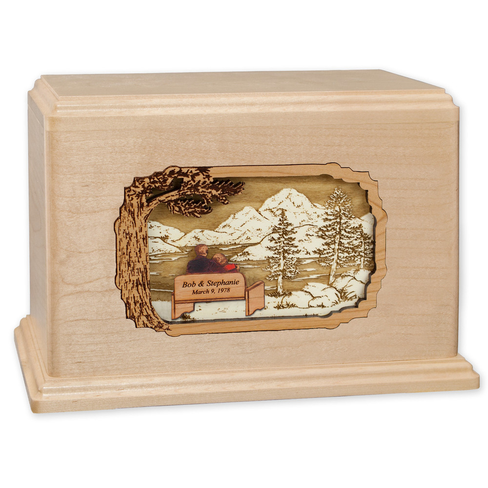 Soulmates Companion Cremation Urn - Maple - Personalized Bench