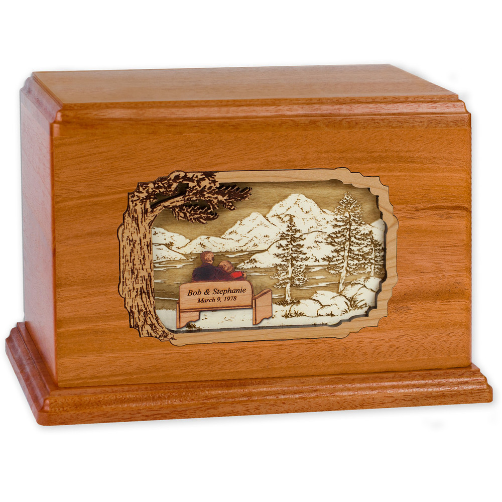 Soulmates Companion Cremation Urn - Mahogany - Personalized Bench