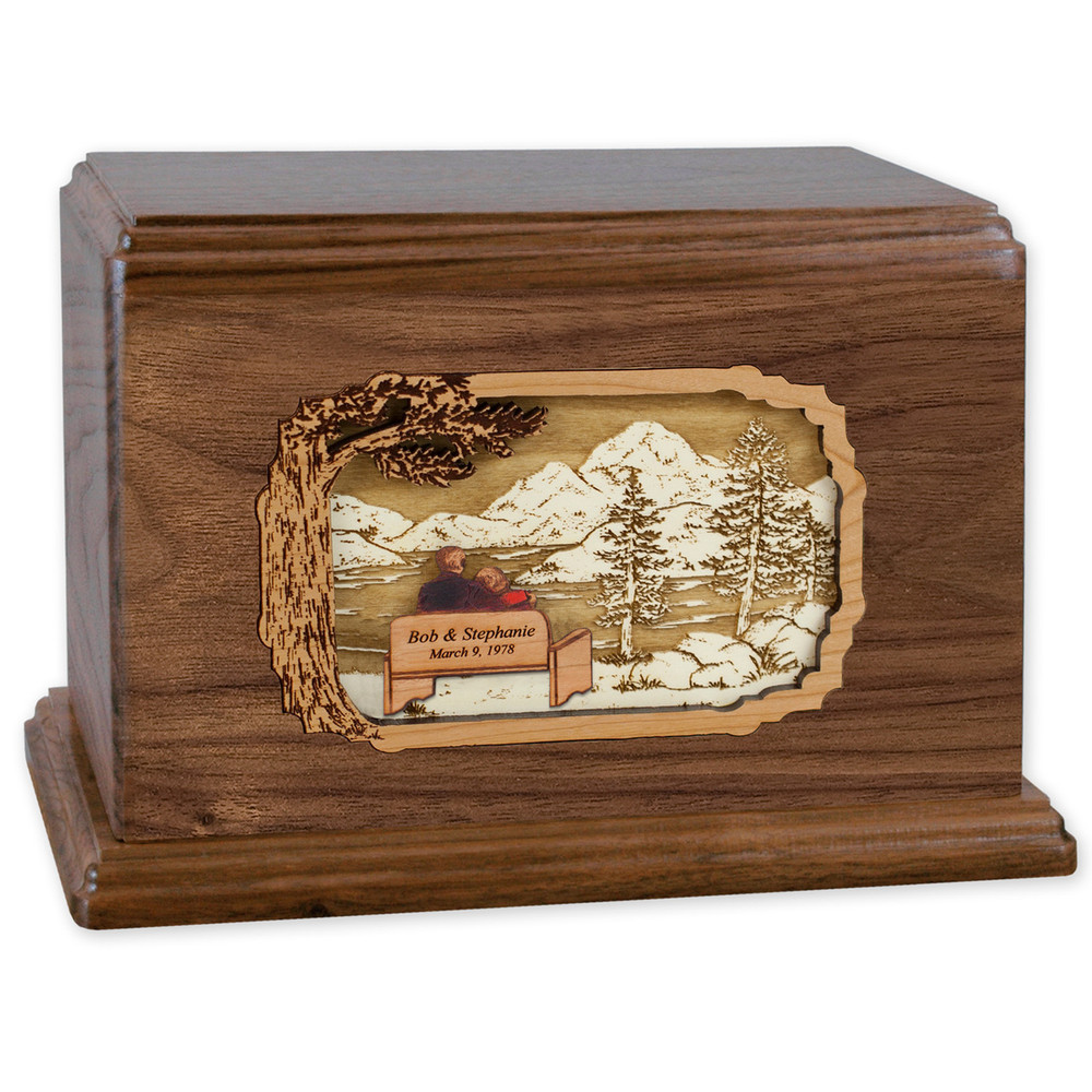 Soulmates Companion Cremation Urn - Walnut - Personalized Bench