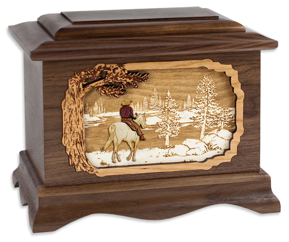 Great Lakes Cremation Urn - Horse & Cowboy