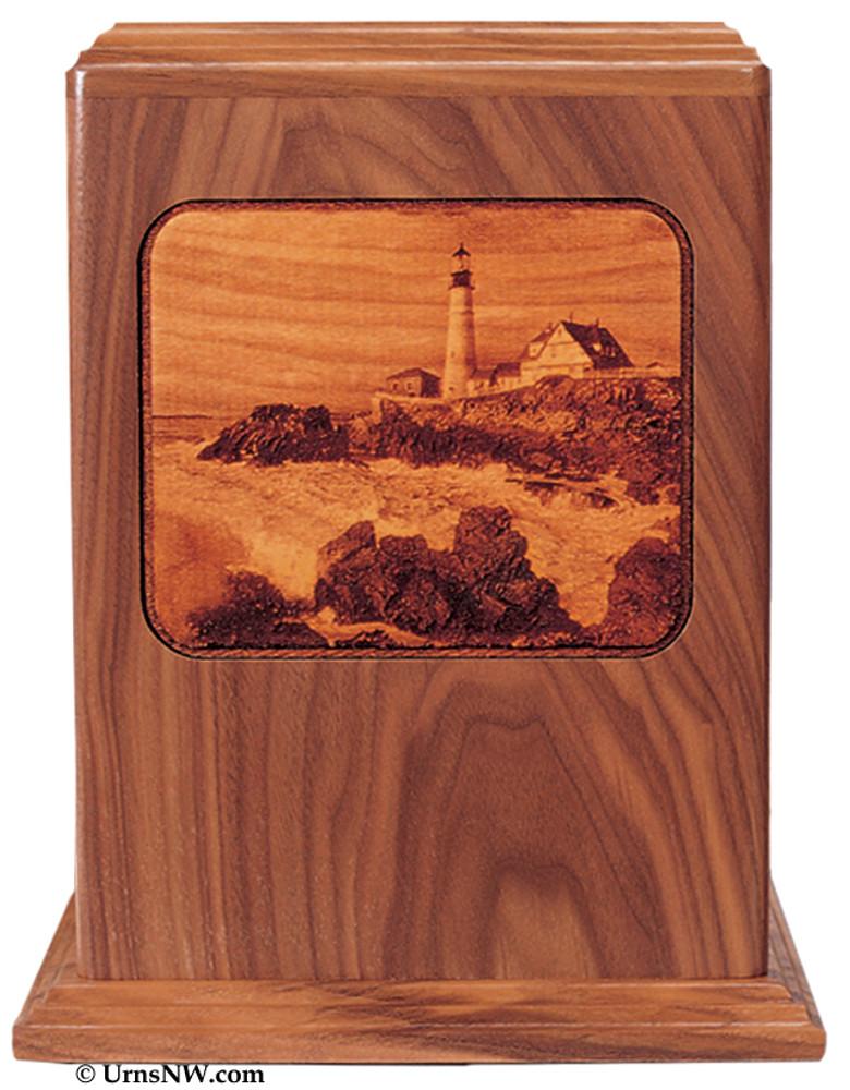 Lighthouse Laser Engraved Wood Urn