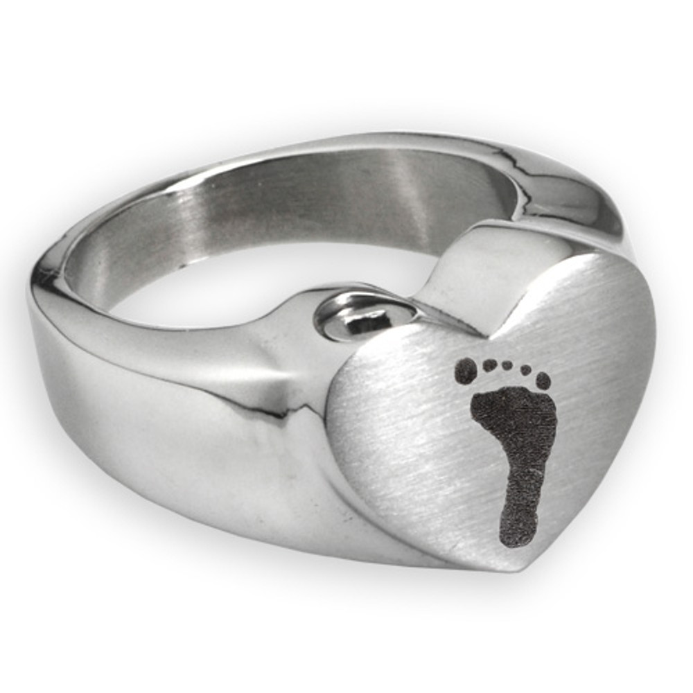 Stainless Steel Memorial Footprint Ring - With chamber
