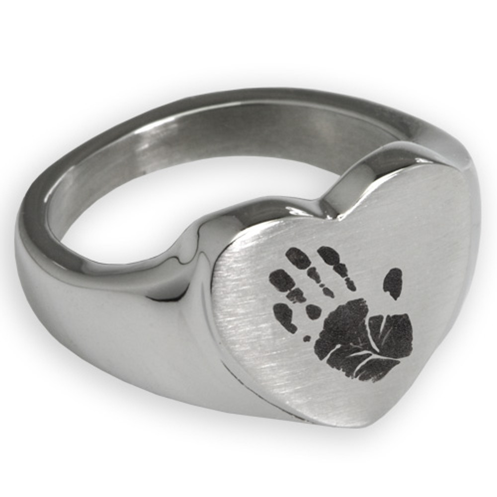 Stainless Steel Memorial Handprint Ring