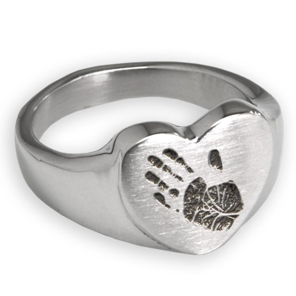 Sterling Silver Memorial Handprint Ring