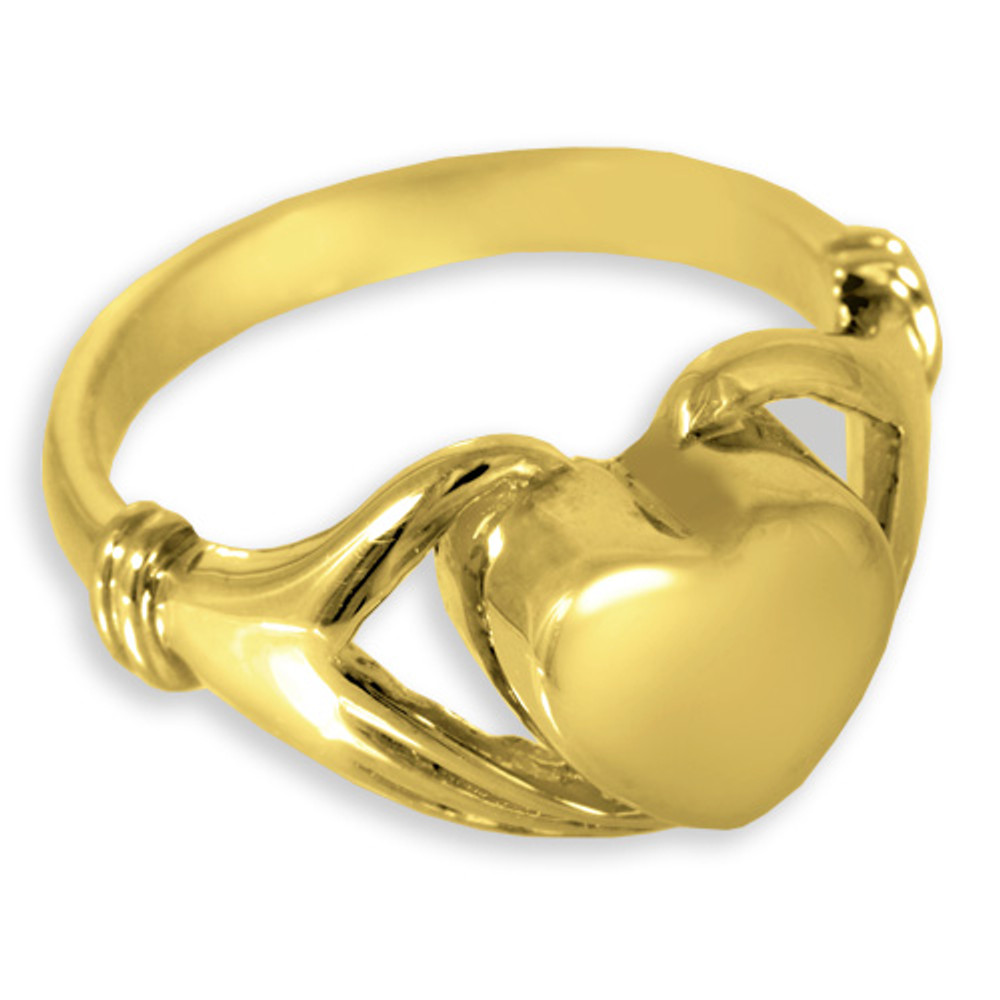14K Gold Plated Sterling Silver Heart Cremation Ring