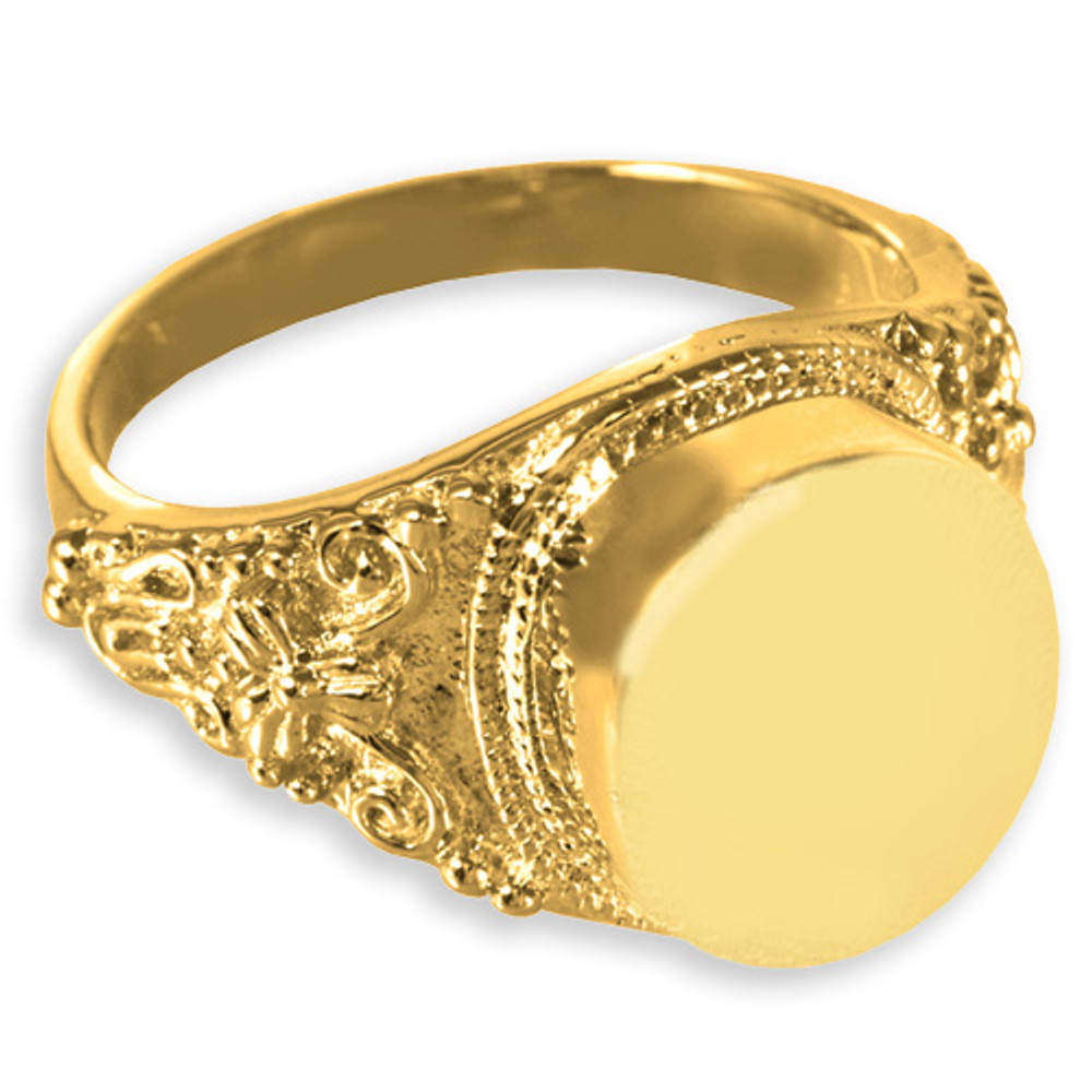 Antique Round 14k Gold Plated Sterling Silver Cremation Ring