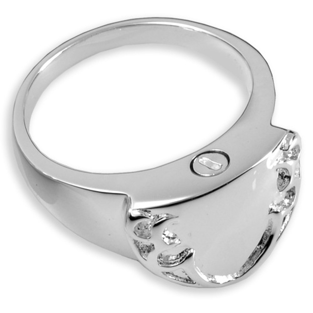 An elegant and masculine cremation jewelry ring
