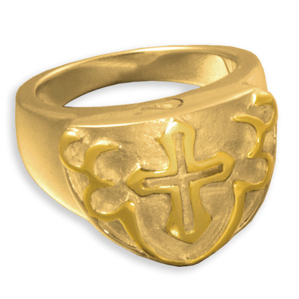 14k Gold Men's Cross Cremation Ring
