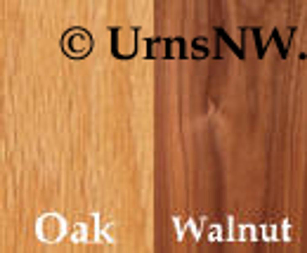 Urn Wood Choices: Oak, Walnut