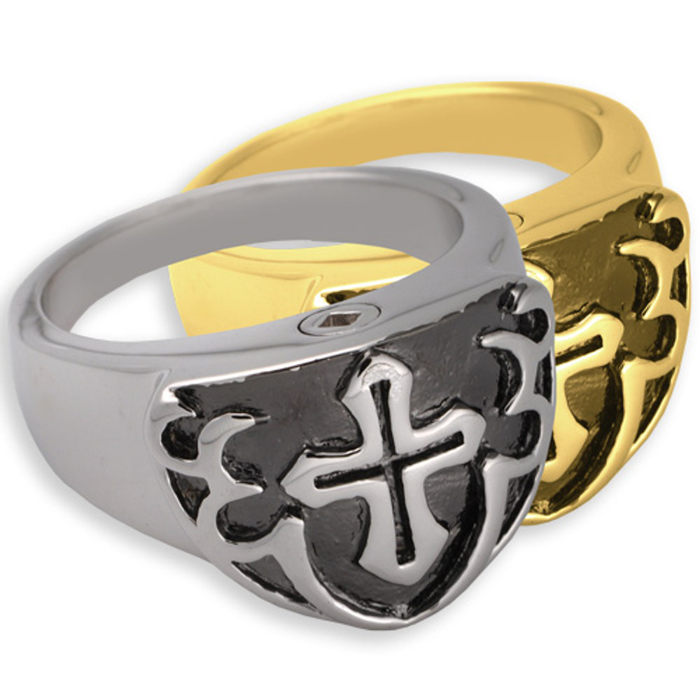 Men's Cross Cremation Ring (Black)