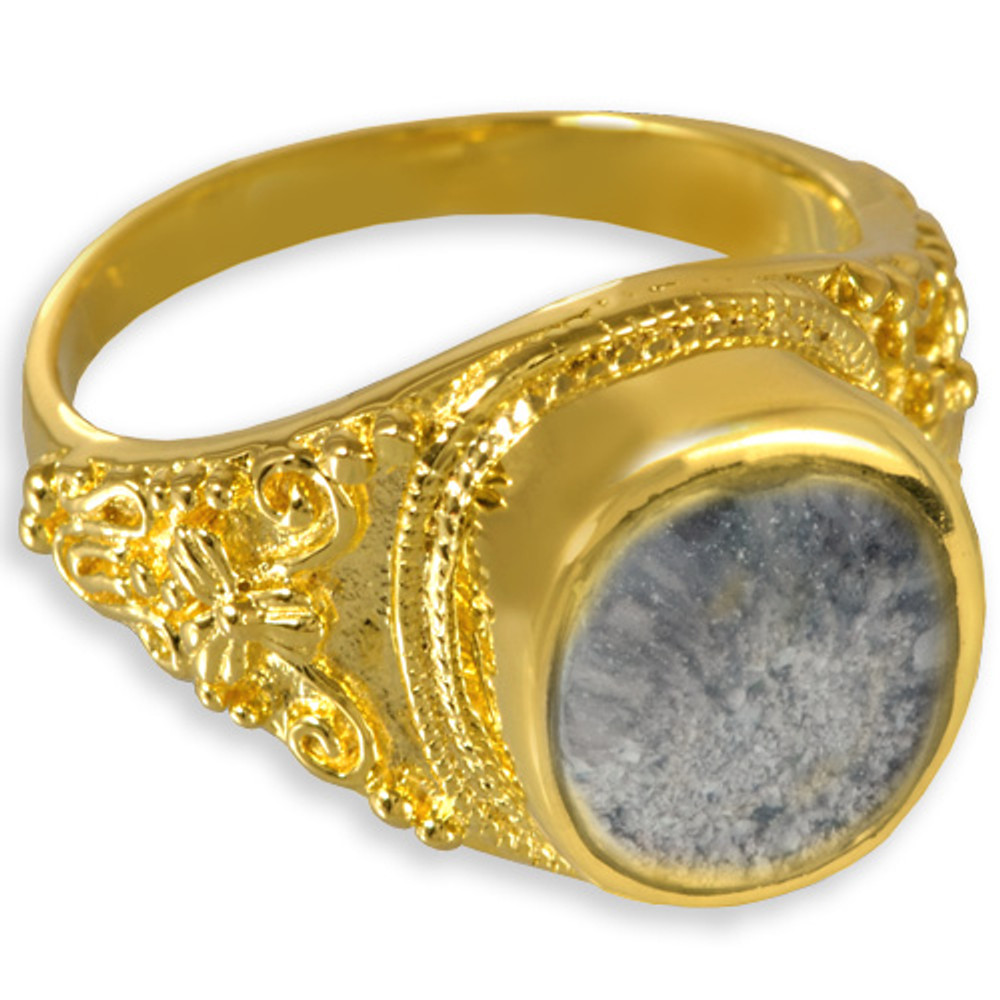14k Gold Plated Sterling Silver Antique Ring Clear glass front means keepsakes are visible