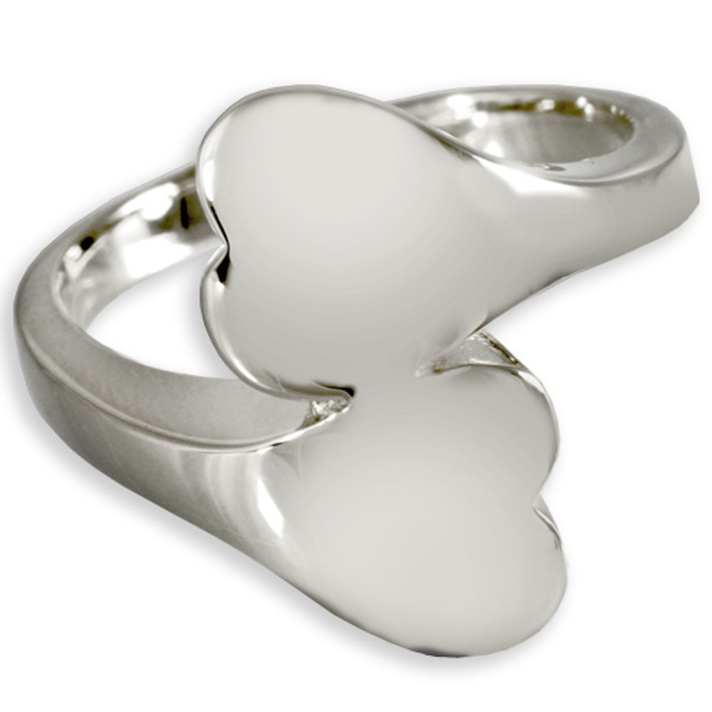 Double Heart Companion Cremation Ring in Sterling Silver