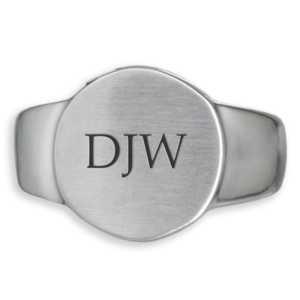 Simple Round Memorial Cremation Ring in Stainless Steel