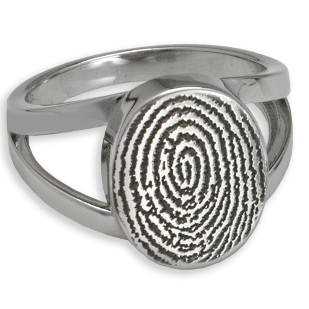 Elegant Oval Fingerprint Ring: With cremation chamber