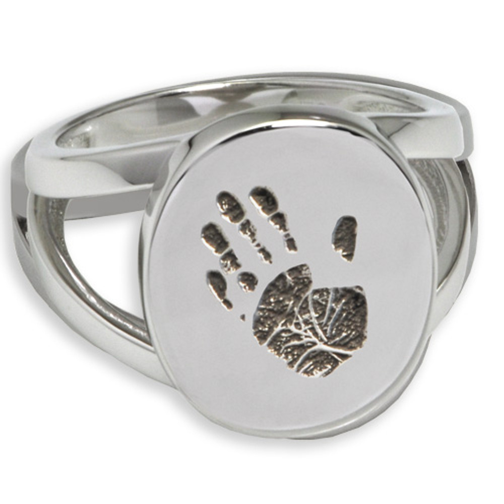 Elegant Oval Handprint Memorial Ring - Without Chamber