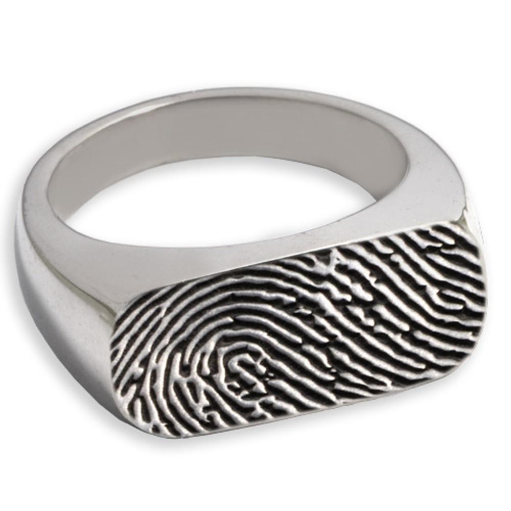 Enduring Rectangle Fingerprint Memorial Ring - Fingerprint Only