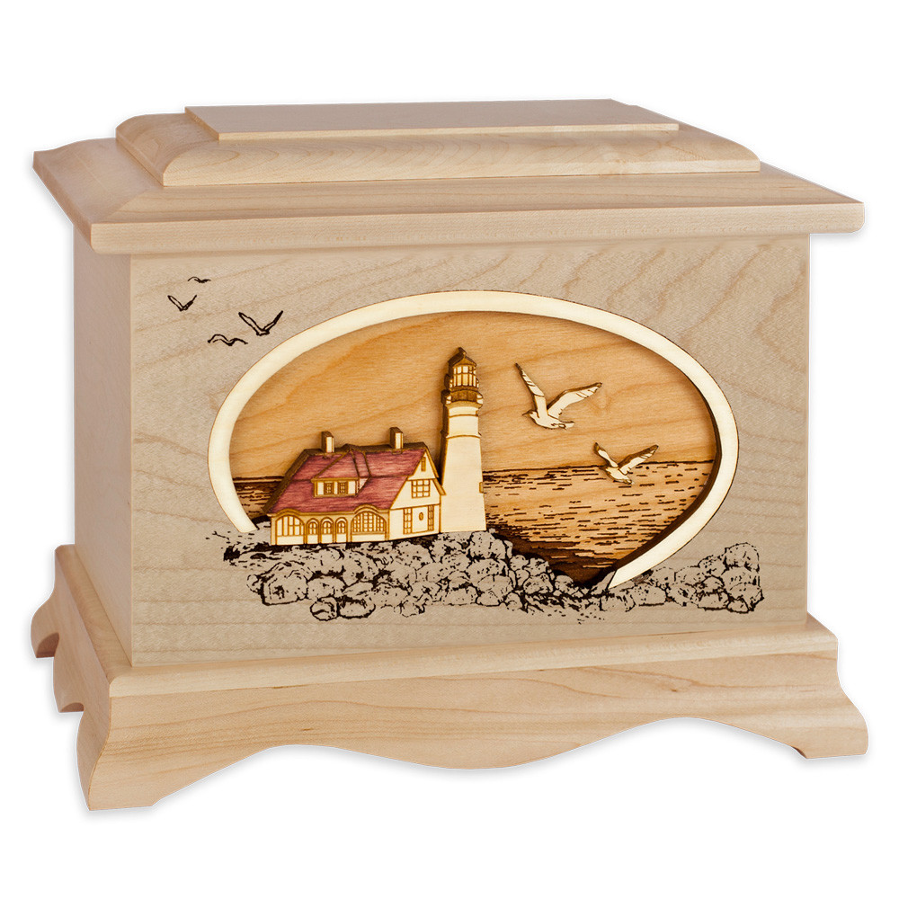 Portland Head Lighthouse Cremation Urn - Maple Wood