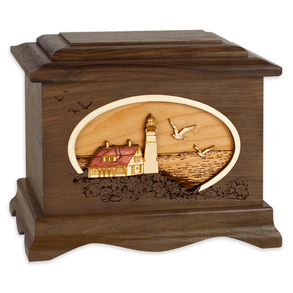 Portland Head Lighthouse Cremation Urn - Walnut Wood