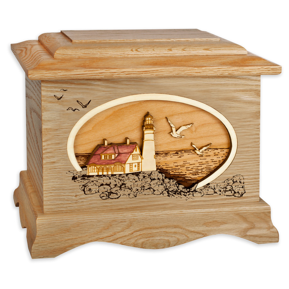 Portland Head Lighthouse Cremation Urn - Oak Wood