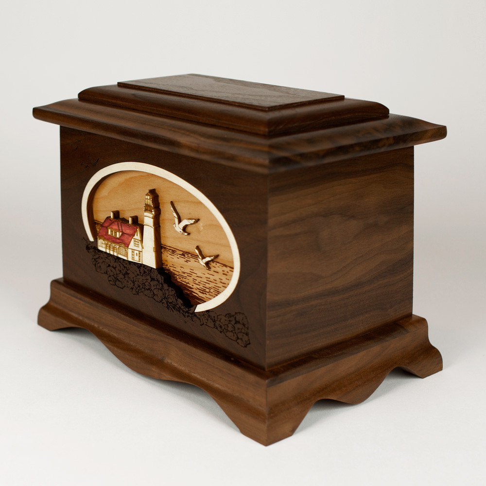 Gorgeous wood memorial urn to honor your loved one