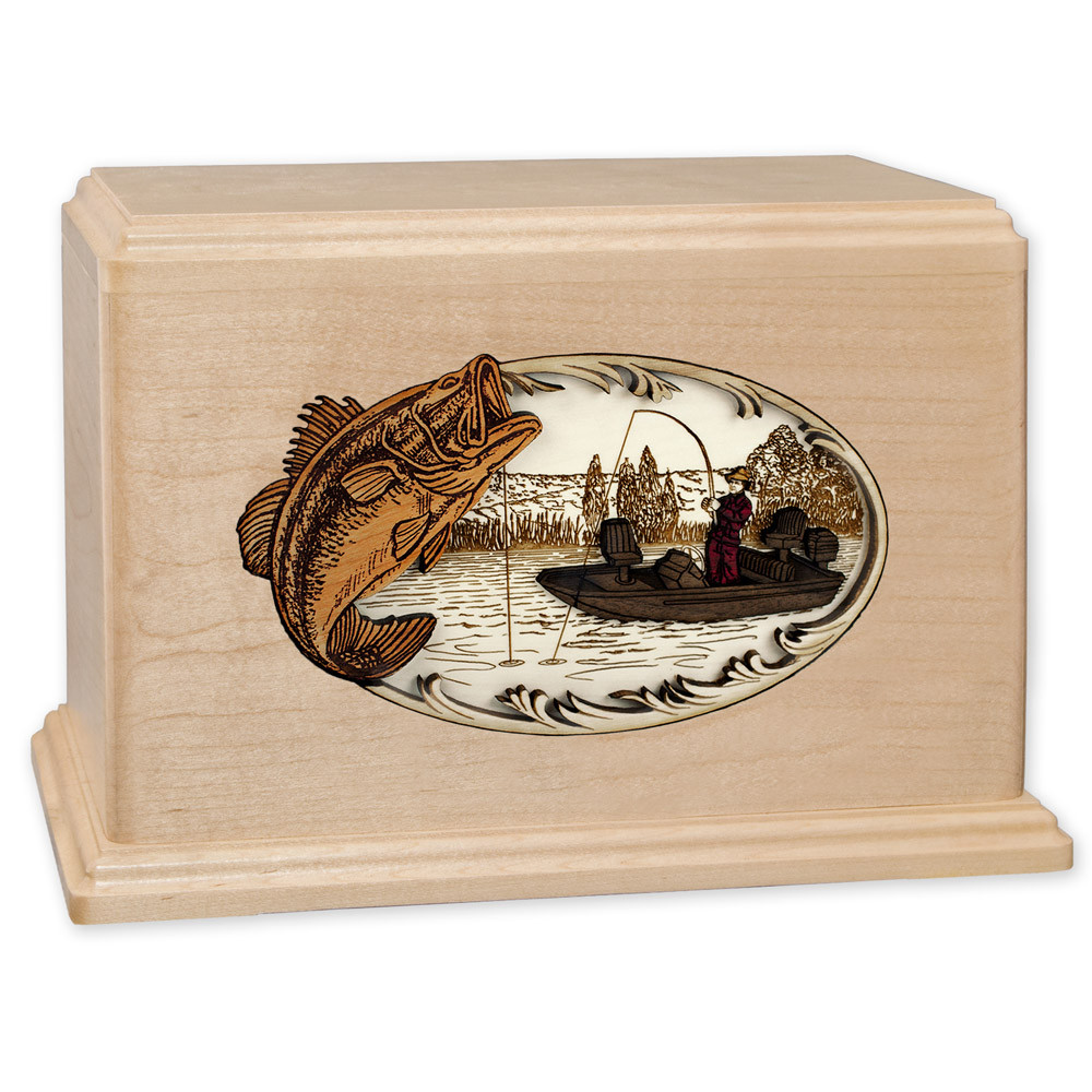 Bass Boat Fishing Wooden Companion Urn - Maple Wood