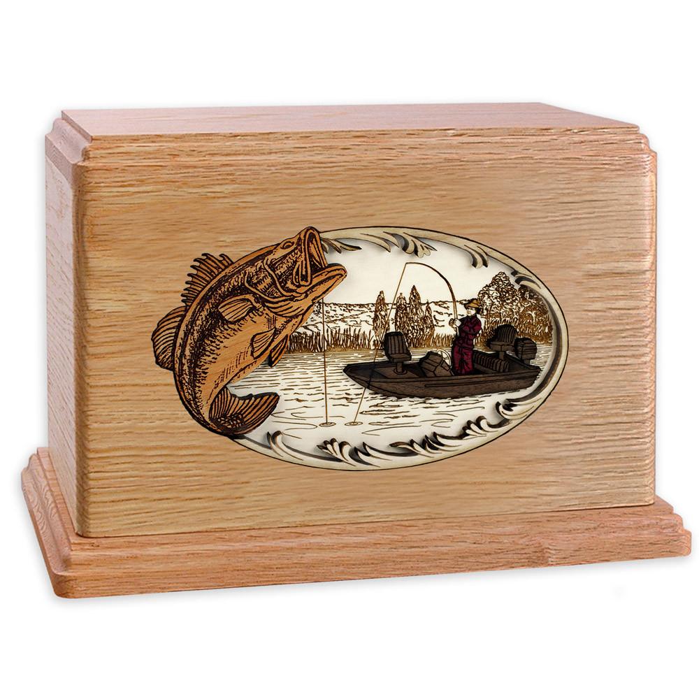 Bass Boat Fishing Wooden Companion Urn - Oak Wood