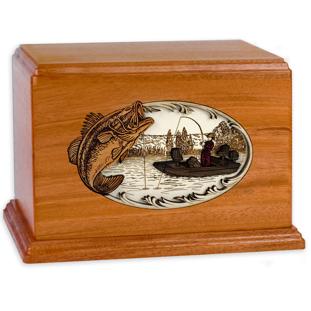 Bass Boat Fishing Wooden Companion Urn - Mahogany Wood