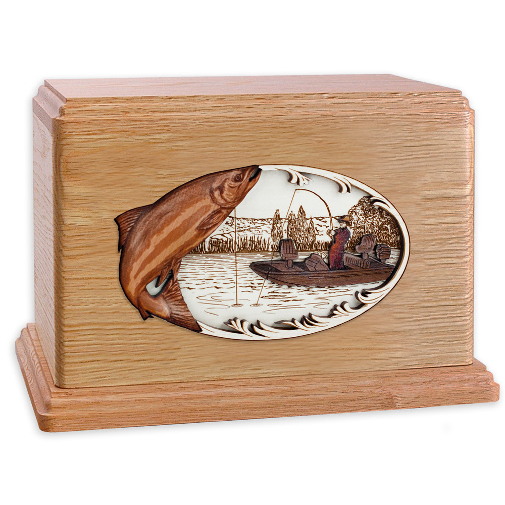 Salmon Boat Fishing Wooden Companion Urn - Oak Wood