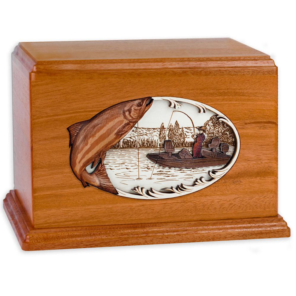 Salmon Boat Fishing Wooden Companion Urn - Mahogany Wood